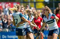 HUIZEN - Amber Folmer (Huizen) en Mirte Jansen (Huizen) vieren een doelpunt bij de eerste play off wedstrijd voor promotie naar de hoofdklasse , Huizen-Nijmegen (3-2) COPYRIGHT KOEN SUYK