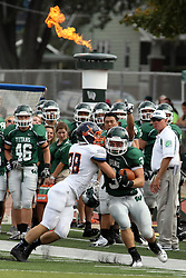 28 September 2013:  T J Stinde tries to fight off Kirby Crookduring an NCAA division 3 football game between the Hope College Flying Dutchmen and the Illinois Wesleyan Titans in Tucci Stadium on Wilder Field, Bloomington IL