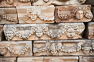 Roman sculpted frieze blocks with garland relief sculptures, North Portico, Aphrodisias Archaeological Site, Aydin Province, Turkey. .<br /> <br /> If you prefer to buy from our ALAMY PHOTO LIBRARY  Collection visit : https://www.alamy.com/portfolio/paul-williams-funkystock/aphrodisias-site-turkey.html<br /> <br /> Visit our TURKEY PHOTO COLLECTIONS for more photos to download or buy as wall art prints https://funkystock.photoshelter.com/gallery-collection/3f-Pictures-of-Turkey-Turkey-Photos-Images-Fotos/C0000U.hJWkZxAbg