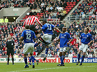 Photo. Andrew Unwin.<br /> Sunderland v Leicester City, Coca-Cola Championship, Stadium of Light, Sunderland 23/04/2005.<br /> Sunderland's Steven Caldwell (#6) heads home his team's second goal to put his team into the lead, and possibly the Premiership.