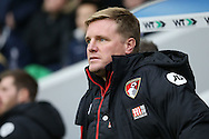 Eddie Howe, the Bournemouth manager looking on from the dugout . The Emirates FA Cup 3rd round match, Millwall v AFC Bournemouth at The Den in London on Saturday 7th January 2017.<br /> pic by John Patrick Fletcher, Andrew Orchard sports photography.