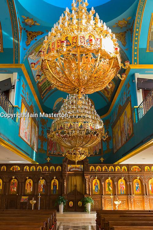 Interior of St Mary Greek Orthodox Church at Jebel Ali in Dubai United Arab emirates
