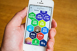 Detail of sport and health activity data recorded by  health and fitness app on iphone smart phone