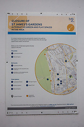 London, UK. 13th January, 2018. A sign indicating the closure of St James's Gardens for work on the HS2 high-speed rail link. Around 50 London Plane, Common Ash, Italian Alder, Common Lime, Bird Cherry, Wild Cherry and Sugar Maple trees in St James's Gardens have been felled as part of preparations for HS2 and an estimated 30,000-60,000 bodies will be exhumed from the cemetery there.