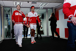21.11.2014, Stade Pierre Mauroy, Lille, FRA, Davis Cup Finale, Frankreich vs Schweiz, im Bild Severin Luethi und Roger Federer (SUI) // during the Davis Cup Final between France and Switzerland at the Stade Pierre Mauroy in Lille, France on 2014/11/21. EXPA Pictures © 2014, PhotoCredit: EXPA/ Freshfocus/ Daniela Frutiger<br /> <br /> *****ATTENTION - for AUT, SLO, CRO, SRB, BIH, MAZ only*****