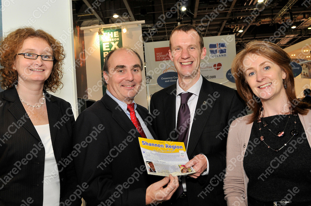 Pictured on the Tourism Ireland stand at World Travel Market (WTM) in London earlier this week, are (l-r) Oonagh Kelly and John Crowe, Shannon Development with Lawrence Bate and Finola OÕMahony, Tourism Ireland.<br /> Pictured on the Tourism Ireland stand at World Travel Market (WTM) in London earlier this week, are (l-r) Oonagh Kelly and John Crowe, Shannon Development with Lawrence Bate and Finola O'Mahony, Tourism Ireland.