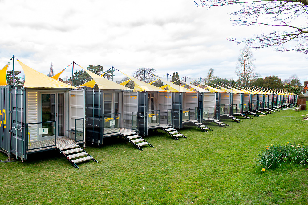 © Licensed to London News Pictures. 02/04/2020. Reading, UK. Temporary accommodation units have been set up for NHS staff from the The Royal Berkshire Hospital in Reading. The units at Reading School are self-contained and each unit has two separate bedrooms for NHS staff to use during the COVID-19 coronavirus pandemic. Photo credit: Peter Manning/LNP