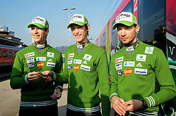 Jurij Tepes, Peter Prevc and Robert Kranjec prior to the departure of a train Ljubljana - Jesenice where will be placed press conference of Slovenian Ski jumping team, on March 18, 2015 in Ljubljana train station, Slovenia. Photo by Vid Ponikvar / Sportida