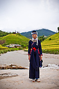 """Hap in traditional outfit of the Dao ethnic minority. Portrait of Hap, 14, who is part of the Plan (NGO) Project """"Because I am a Girl"""" Ban Luoc commune, Hoang Su Phi District, Ha Giang Province, Vietnam, September 2014"""