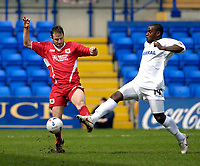 Photo: Jed Wee.<br />Tranmere Rovers v Bristol City. Coca Cola League 1. 22/04/2006.<br /><br />Bristol City's Louis Carey (L) clears the ball from Tranmere's Delroy Facey.