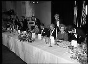 President Reagan Visits Ireland..(formal dinner)..1984.04.06.1984.06.04.1984.4th June 1984..The Banquet for President and Mrs Reagan was held in Dublin Castle,Dame St,Dublin..After the seating of president and Mrs Reagan the rest of the guests take their seats.