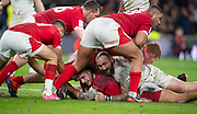 Twickenham, England, 7th March 2020, Joe MARLER, in the thick of the breakdown finds something to smile about, Guinness Six Nations, International Rugby, England vs Wales, RFU Stadium, United Kingdom, [Mandatory Credit; Peter SPURRIER/Intersport Images]