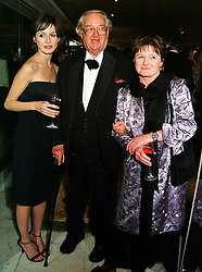Left to right,  actress EMILY MORTIMER, and her parents SIR JOHN & LADY MORTIMER, at a ball in London on 13th October 1999.MXP 48