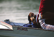 Chiswick, UNITED KINGDOM. cox Pat SWEENEY training with Men's coxed pair, Steve REDGRAVE  and Andy HOLMES. River Thames [Mandatory Credit Peter Spurrier/Intersport Images] Orientation. Landscape. 1988 Steve REDGRAVE, Training for the Scullers Head. LONDON