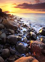 Santa Barbara coastline at sunset