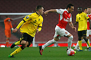 Santi Cazorla in action for Arsenal up against Rory Hale of Aston Villa. U21 Barclays Premier league play off final match, Arsenal U21's v Aston Villa U21's at the Emirates Stadium in London on Tuesday 10th May 2016.<br /> pic by Steffan Bowen, Andrew Orchard sports photography.