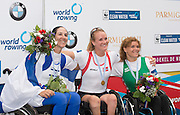 Amsterdam. NETHERLANDS. <br /> ASW1X medals, Silver ISR. ASW1X. Moran SAMUEL, Gold Medalist NOR. ASW1X. Birgit SKARSTIEN and Bronze, BLR ASW1X. Liudmila VAUCHOK. awards Dock .  2014 FISA  World Rowing. Championships.  De Bosbaan Rowing Course .   Thursday  28/08/2014  [Mandatory Credit; Peter Spurrier/Intersport-images]