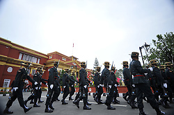 June 7, 2017 - Kathmandu, NP, Nepal - Nepalese army personnel parade around the Sheetal Niwas, Kathmandu, Nepal on Wednesday, June 07, 2017. The President of the Nepali Congress, Sher Bahadur Deuba elected as a 40th Prime Minister of Nepal. (Credit Image: © Narayan Maharjan/NurPhoto via ZUMA Press)