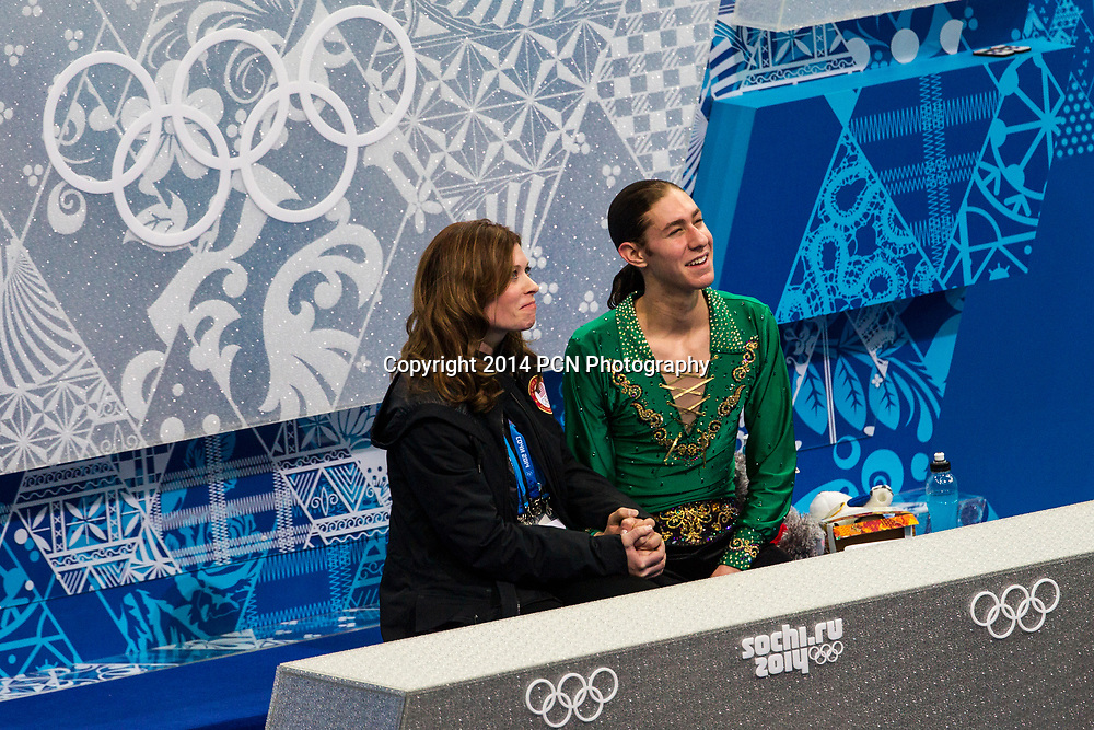 Jason Brown (USA) in the kiss and cry with coach  Kori Ade after the Men's Free Skating Figure Skating at the  Olympic Winter Games, Sochi 2014