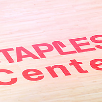 22 November 2015: Logo of the Staples Center written on the court during the Toronto Raptors 91-80 victory over the Los Angeles Clippers, at the Staples Center, Los Angeles, California, USA.
