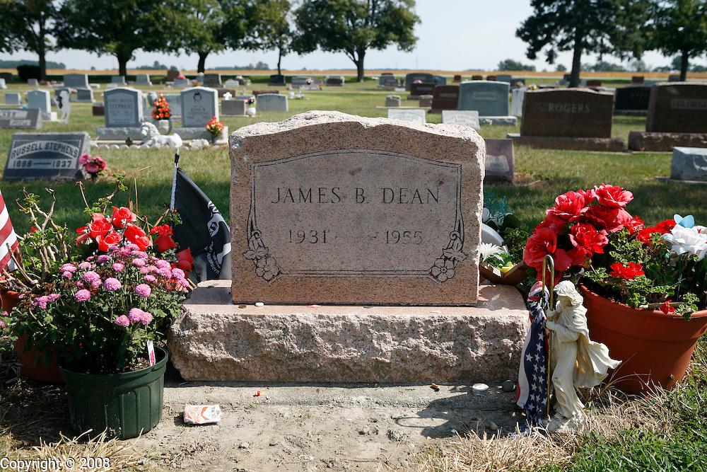 James Dean's grave at the Park Cemetery, Fairmont, Indiana.