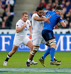 France Lock Alexandre Flanquart is tackled by England Number 8 Billy Vunipola - Mandatory byline: Rogan Thomson/JMP - 19/03/2016 - RUGBY UNION - Stade de France - Paris, France - France v England - RBS 6 Nations 2016.