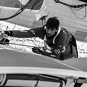 Leg 11, from Gothenburg to The Hague, day 03 on board MAPFRE, Guillermo Altadill moving sails. 23 June, 2018.