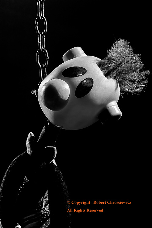 Loss of Innocence (B&W):   The callus hanging of a childhood doll symbolizes both a maturity and the loss of innocence, Vancouver British Columbia Canada.