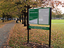 "© Licensed to London News Pictures. 29/10/2011. London, UK.  A correctly placed sign in Turnham Green. Residents in Chiswick, West London, were surprised to find their locals parks had changed names overnight. Council workers have erected new signposts in the wrong parks which are half a mile apart. Turnham Green and Acton Green now both have signs naming them as Turnham Green. The signs have caused much local amusement. One local Hounslow councillor described the mixup as ""embarrassing"". Photo: Stephen Simpson/LNP"