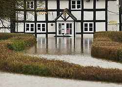 The Rose and Crown pub surrounded by flood water in Worcestershire, in the aftermath of Storm Dennis.