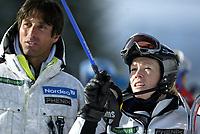 Alpint, 21. mars 2004, NM Alpint Hafjell, Slalåm, Trine Bakke Rognmo, Trine-Bakke Rognmo og trener franske Michael Lucasteli ??????