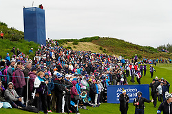 Auchterarder, Scotland, UK. 14 September 2019. Saturday afternoon Fourballs matches  at 2019 Solheim Cup on Centenary Course at Gleneagles. Pictured; Crowds of spectators line the 8th fairway. Iain Masterton/Alamy Live News