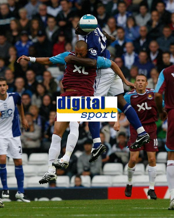 Photo: Steve Bond.<br />Birmingham City v West Ham United. The FA Barclays Premiership. 18/08/2007. Radhi Jaidi (top) beats Bobby Zamora (lower) to the ball