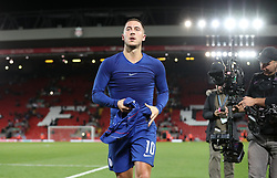 Chelsea's Eden Hazard celebrates after the final whistle of the Carabao Cup, Third Round match at Anfield, Liverpool.