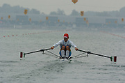 FISA World Cup Rowing Munich Germany..27/05/2004..Thursday morning opening heats...ITA M1X Paolo Loriato.. Rowing Course, Olympic Regatta Rowing Course, Munich, Germany [Mandatory Credit: Peter Spurrier: Intersport Images].