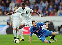 Fotball<br /> Tyskland<br /> 28.03.2010<br /> Foto: Witters/Digitalsport<br /> NORWAY ONLY<br /> <br /> v.l. Mohamadou Idrissou, Josip Simunic (Hoffenheim)<br /> <br /> Bundesliga Borussia Mönchengladbach - Hamburger SV