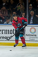 KELOWNA, CANADA - MARCH 16:  Devin Steffler #4 of the Kelowna Rockets passes the puck against the Vancouver Giants on March 16, 2019 at Prospera Place in Kelowna, British Columbia, Canada.  (Photo by Marissa Baecker/Shoot the Breeze)