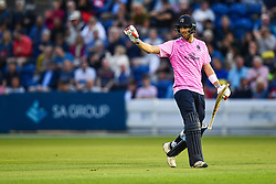Stephen Eskinazi of Middlesex leaves the field after his dismissal<br /> <br /> Photographer Craig Thomas/Replay Images<br /> <br /> Vitality Blast T20 - Round 4 - Glamorgan v Middlesex - Friday 26th July 2019 - Sophia Gardens - Cardiff<br /> <br /> World Copyright © Replay Images . All rights reserved. info@replayimages.co.uk - http://replayimages.co.uk