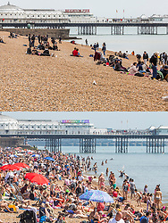 **Use requires payment for two pictures**<br /> © Licensed to London News Pictures. Comparison showing cold and damp whether today 05/05/2019 (TOP) and a packed beach in warm weather on early May bank holiday weekend in 2018, 07/05/2018 (BOTTOM). Photo credit: Hugo Michiels/LNP