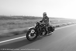 Denis Sharon riding his 1936 BMW r12 during Stage 9 (249 miles) of the Motorcycle Cannonball Cross-Country Endurance Run, which on this day ran from Burlington to Golden, CO., USA. Sunday, September 14, 2014.  Photography ©2014 Michael Lichter.