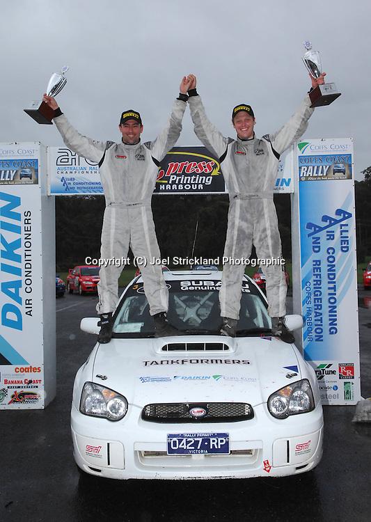 Eli Evans & Chris Murphy on the podium after winning the Coff's Coast Rally.Motorsport-Rally/2008 Coffs Coast Rally.Heat 2.Coffs Harbour, NSW.16th of November 2008.(C) Joel Strickland Photographics