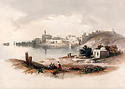 Sidon seen from the north. Coloured lithograph by Louis Haghe after David Roberts, 1843.
