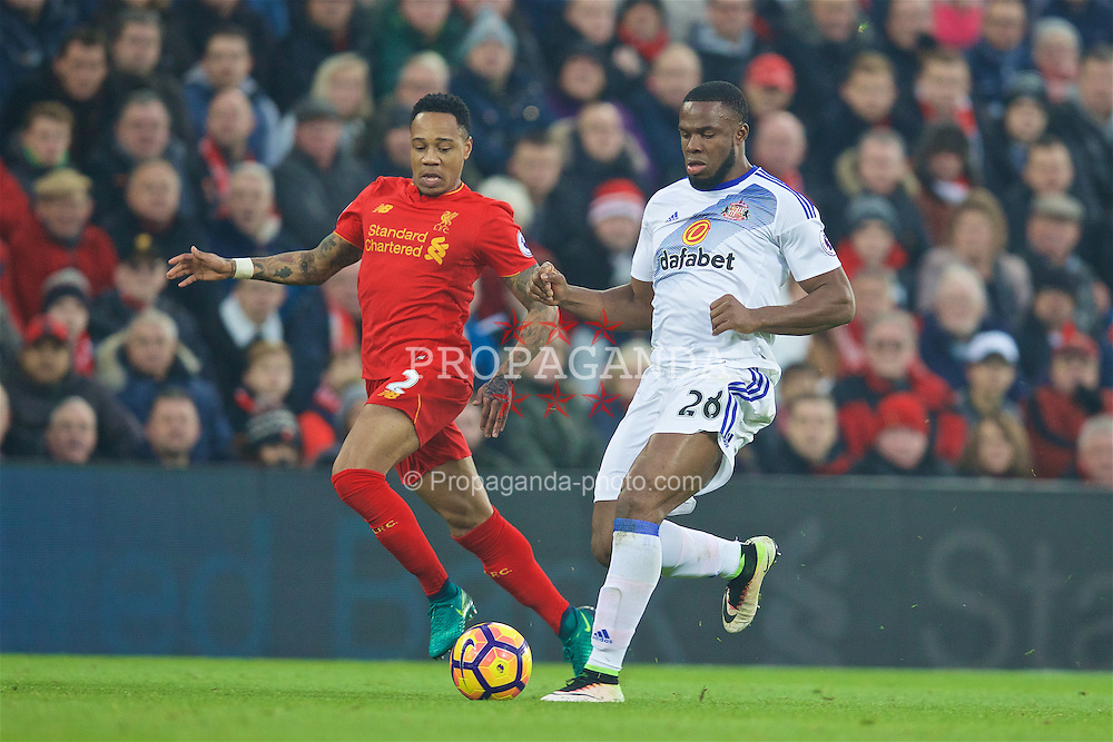 LIVERPOOL, ENGLAND - Saturday, November 26, 2016: Liverpool's Nathaniel Clyne in action against Sunderland's Victor Anichebe during the FA Premier League match at Anfield. (Pic by David Rawcliffe/Propaganda)