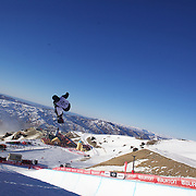 in action during the Men's Half Pipe competition at the Burton New Zealand Open 2011 held at Cardrona Alpine Resort, Wanaka, New Zealand, 9th August 2011. Photo Tim Clayton
