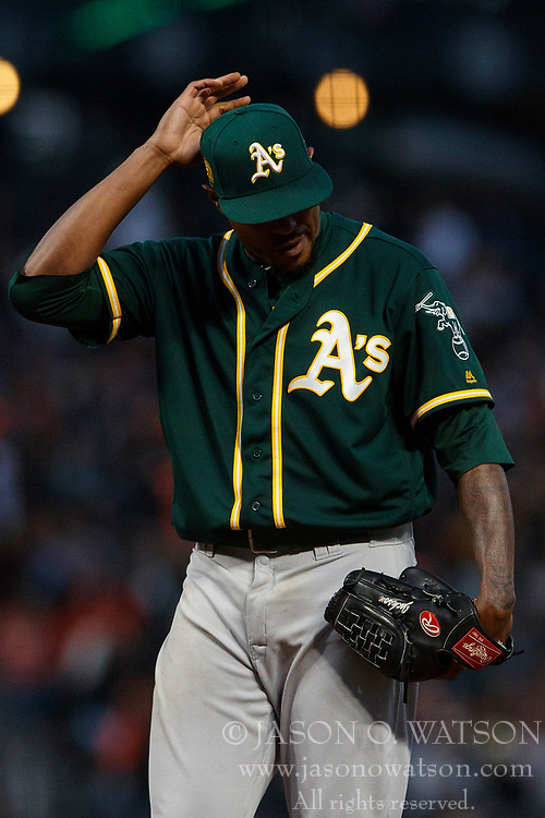 SAN FRANCISCO, CA - JULY 13: Edwin Jackson #37 of the Oakland Athletics reacts after being called for a balk that scored Steven Duggar (not pictured) of the San Francisco Giants during the fourth inning at AT&T Park on July 13, 2018 in San Francisco, California. The San Francisco Giants defeated the Oakland Athletics 7-1. (Photo by Jason O. Watson/Getty Images) *** Local Caption *** Edwin Jackson