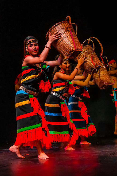Robam Phuok Phal (the dance depicts the practice of slash and burn agriculture. It features the chreong, a type of stick farmers use as a tool for planting rice), Traditional dance show presented by Cambodian Living Arts, National Museum of Cambodia, Phnom Penh, Cambodia.