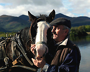 A jaunting car and jarvey Billy Tangney at Ross Castle, Killarney.<br /> Picture by Don MacMonagle