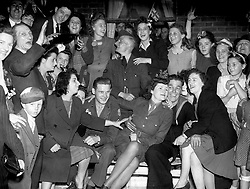"""Embargoed to 2100 Friday May 08 File photo dated 08/05/45 of celebrations on VE (Victory in Europe) Day in 1945. As the Queen spoke of the jubilant celebrations which """"some of us experienced first-hand"""", she was no doubt thinking back to her own VE Day adventures."""