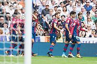 Levante's Tono Garcia, Ivan Lopez, Ivan Lopez and Jose Angel Campana celebrating a goal during La Liga match between Real Madrid and Levante UD at Santiago Bernabeu Stadium in Madrid, Spain September 09, 2017. (ALTERPHOTOS/Borja B.Hojas)