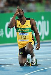 03-09-2011 ATLETIEK: IAAF WORLD CHAMPIONSHIPS: DAEGU <br /> Usain Bolt<br /> ***NETHERLANDS ONLY***<br /> ©2011-FotoHoogendoorn.nl / Biczyk